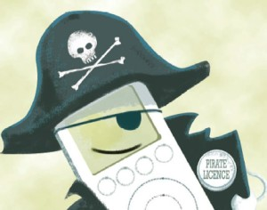 Cartoon image of a pirate iPod
