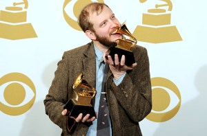 Bon Iver celebrating his Grammy win