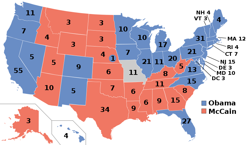 Us Electoral College Map 2008